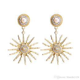 $enCountryForm.capitalKeyWord Australia - Luxury Chic Retro Bohemian Earrings for Women Female Diamond Pearl S925 Silver Pin Earring Studs Drop Shipping