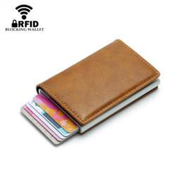 44006a3dc BISI GORO Hombres antirrobo Titular de la tarjeta de crédito de la vendimia  Bloqueo Rfid Cartera de cuero Unisex Información de seguridad Aluminio  Metal ...