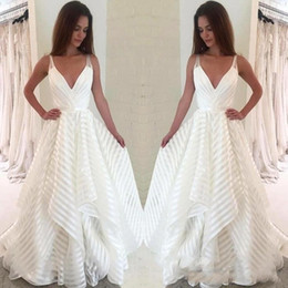 Wholesale black white stripe skirts for sale - Group buy 2020 Country Deep V Neck Spaghetti Wedding Dress Tiers Stripes Tulle Bridal Gown Robe de mariee BC0856