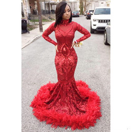 $enCountryForm.capitalKeyWord Australia - Long Sparkly Prom Dresses 2019 Sexy High Neck Long Sleeve Sequin African Black Girl Red Feather Prom Dress Party