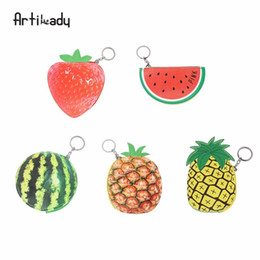 strawberry key Australia - Artilady strawberry coin purse change purse key chain bag charm for kids accessory gift