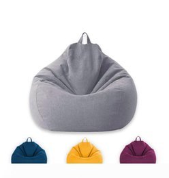 lazy bean bags UK - New Classic Bean Bag Sofa Chairs Cover Lazy Lounger Bean Bag Storage Chair Covers Solid Color Living Room