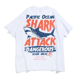 shark sale NZ - Hot Sale Shark Printing Letters Mens T-Shirts Men's Summer New Arrival Loose Left Shoulder Short-sleeved T Shirts Couple Clothing