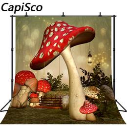 Swing Painting Australia - Capisco photo background Mushroom Swing Wonderland party Forest newborn child backdrops fotografia photographic wall papers