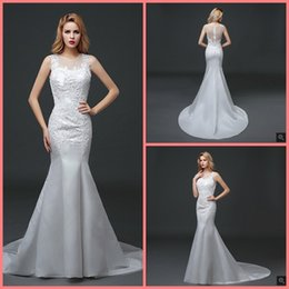 Hot Sexy White Dresses Australia - Vestido De Festa court train mermaid white lcae appliques wedding dress sheer back sexy sleeveless court train wedding gowns hot sale