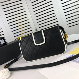 $enCountryForm.capitalKeyWord NZ - classic black color elegant genuine leather with White edge design temperament lady shoulder bags cross body bags with box medium size