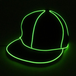fluorescent light boxes Canada - Cool El Wire Cap Neon Led Light Hats Glow Costume Party Luminous Cap Fluorescent Dj Bar Dance Performances Carnival Party Props Y19061704