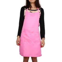 pink aprons wholesale Australia - Pink Polyester fiber Lady Women Chef Waiter Cleaning Protect Sanitary Tool, Water Resistant Kitchen Cook Sleeveless Apron.