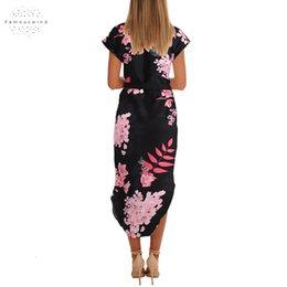 Ladies straight dresses sLeeves online shopping - T Summer Dress Women Bohemian Midi Straight O Neck Short Sleeve Sashes Casual Elegant Club Office Work Ladies Dress