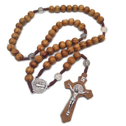 $enCountryForm.capitalKeyWord Australia - Men Women Christ Wooden Beads 10mm Rosary Bead Cross Pendant Woven Rope Chain Necklace Jewelry Accessories