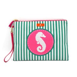 $enCountryForm.capitalKeyWord UK - Stripe Tassel Wristlet bag Beach waterproof Clutch Bag womens Coin Purse Wallet bikini storage bag hippocampus handbag