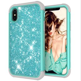 $enCountryForm.capitalKeyWord Australia - 3 in1 phone case Shockproof Hybrid Heavy Duty Glitter Bling Shining Silicone Armor Case For Samsung S9+ for iphone 7 8 X