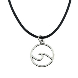 $enCountryForm.capitalKeyWord Australia - Hot Sell! 20pcs lot Tibetan Silver Wave Necklace Choker charms Pendant Black Leather Necklace