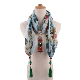 China New Ethnic Printed Cotton Collar Beads Pendant Tassel Scarf Necklaces for Women Fashion Jewelry Statement scarves suppliers