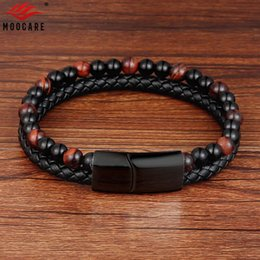 Wholesale Moocare charm leather bracelet men women metal magnet clasp nature stone beaded bracelets male female hand chain jewelry