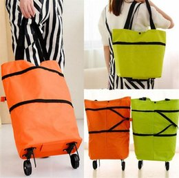 Wholesale Portable folding shopping bag trolley reusable storage Shopping Bag On Wheels Rolling Grocery Tote Handbag B11