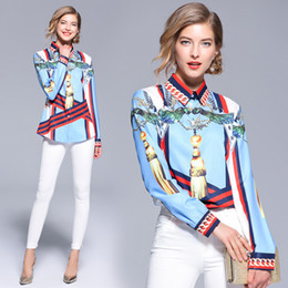Wholesale women's blouses resale online - New Arrival Women s Spring Autumn Silk Print Long Sleeve Shirts Office Lady Luxury Fashion Lapel Neck OL Slim Blouses Shirts Tops