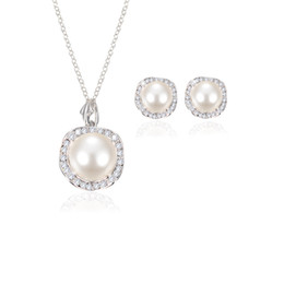 Discount mother bride jewelry - Women Wedding Pearl Pendant necklace Stud Earrings Set For Ladies Crystal Faux fake Pearl Jewelry bride Bridesmaid Engag