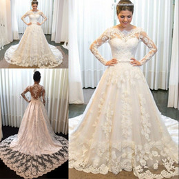 $enCountryForm.capitalKeyWord NZ - vestido De Noiva 2020 New A Line Wedding Dresses With Bow Long Sleeves Lace Appliques Sheer Jewel Neck Bridal Gown Celebrity robe de mariee