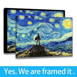 Art Canvas Prints Australia - Framed Wall Art Starry Night - The Legend of Zelda - Breath of The Wild Artwork Print Canvas Wall Art Decor - Ready To Hang
