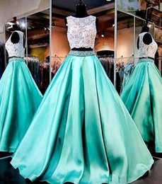 $enCountryForm.capitalKeyWord Australia - Turquoise Two Pieces 2019 Prom Dresses Lace Formal Girls Pageant Gowns Beading Vintage Cheap Party Dresses Graduation Dresses
