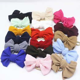 Discount messy girl 20pcs lot Baby Girl Fabric Messy Bow Headband Nylon Headband Newborn Large Bow Headwrap Infant Bebes Hair Bows Turban Bo