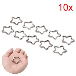 $enCountryForm.capitalKeyWord Australia - 10pcs lot Sliver Five Stars Flower Shape Keychain Circle Keyring Findings Fit DIY Keychain Rings Circles Accessories