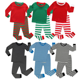 Girls set strip online shopping - Kids boy Girl Christmas Clothing Two Pieces Set Spring Fall Round Collar Red Green Pink Stripped Shirt Pant Cotton Kid Clothing Sets