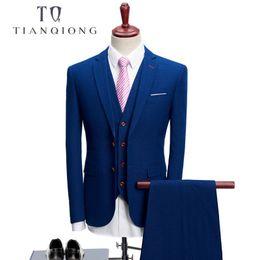 Men Suits Australia - Tian Qiong 2018 Business Men Suits For Wedding Party Suit Slim Fit For Men Notch Lapel 3 Pieces Mens Suits (jacket+vest+pants ) Y190420