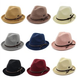 Straw Hat Trilby NZ - 9 Colors Fashion Unisex Fedora Hat Women Men Summer Sun Beach Grass Braid Trilby Wide Brim Straw Hats Caps