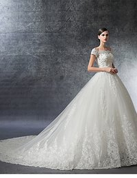 Discount sexy long tail wedding dresses - 2019 new high-end wedding printing crystal decoration sleeveless new long tail new style wedding dress De Mariee Plus