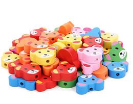 Kids Craft Making UK - 100pcs colorful cartoon Shape Wood Beads Craft Kids Jewelry Making for bracelet 20MM