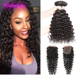 raw virgin hair bundles lace closure UK - B Indian Raw Human Hair 4x4 Lace Closure With Hair Bundles 95 -00g Piece Deep Wave 8 -28inch Virgin Hair Wefts With Closure
