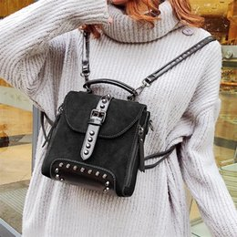 Styles Backpacks Australia - WoMan Leather Backpack Female Teenage Girls School Backpacks Vintage Solid Shoulder Bag Black Brown England Style Bags For WoMan