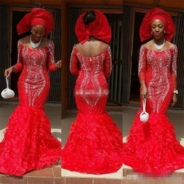 Chic Red Coral Australia - Chic Red Aso Ebi Style Mermaid Evening Dresses 2018 Arabic Off The Shoulder Luxury Crystal Ruffles Train Formal Plus Size Mother Dresses
