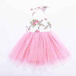 embroidered tutu Canada - Summer Girls Floral tulle dress Cute children flower printed gauze tiered tutu dress bow lace-up Halter kids Backless sundress C5076