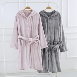 Men Women Flannel Winter Bathrobes Pink Gray Thick Warm Hooded Bath Robes  for Male Female Home Wear Couple Dressing Gown f65374114