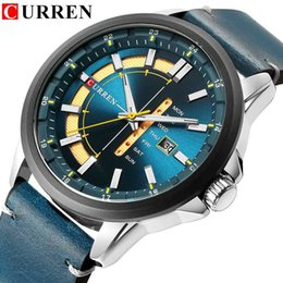 wristwatch curren Australia - New Mens Watches CURREN Unique Fashion Design Dial Quartz Wristwatch Leather Strap Watch Display Date and Week Clock Green Reloj