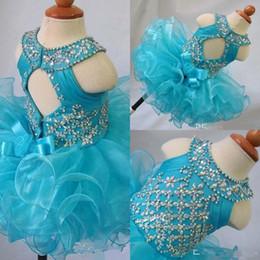 $enCountryForm.capitalKeyWord Australia - blue jewel neck crystal flower girl backless sleeveless bow organza beads cupcake pageant dresses kids toddler glitz prom Infant ball gowns