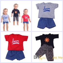 T Shirt Dolls Australia - Short Sleeve T Shirt Shorts Pants for American Girl 18 Inch Dolls Cloth Set of 3