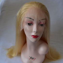 Full Cuticle Virgin Human Hair Australia - HD honey blonde Virgin Cuticle Aligned Hair 613 Human hair Full Lace Wig Brazilian Hair