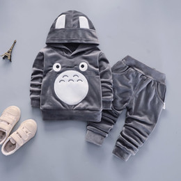 baby boy black clothes 2019 - 2019 New Hot Fashion Cartoon Children Toddler Boys Girls Clothes Suits Baby Velvet Hoodies Pants 2Pcs Spring Autumn Trac