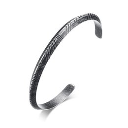 mexican bracelets UK - 6MM Ancient Silver Color Fashion Simple Lady's Bangle Stainless Steel Open Bracelet Watchband Jewelry Gift for Girls Women J285