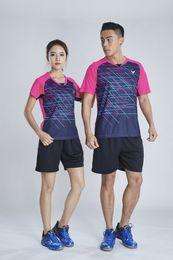 $enCountryForm.capitalKeyWord Australia - Victory Badminton Suit Sportswear for Men Women Short Sleeve T-shirt Leisure Running Basketball casual wear Table tennis 1922+7023 red-blue