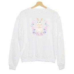 $enCountryForm.capitalKeyWord Australia - Hillbilly J-934 Sweatshirt Girl Wind Hello Rabbit Cartoon Print Lady Polyester Hoodies Cute Lady White Round Neck Slim Shirt