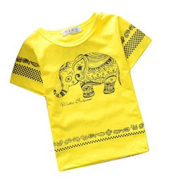 Korean fashion cute long shirts online shopping - 2015 summer kids t shirt cute Elephant Pattern Korean cotton short sleeve children t shirts for boys free