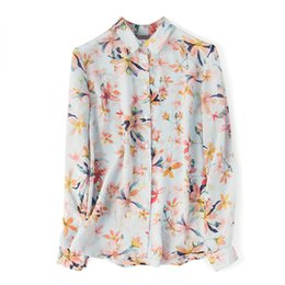 73ec96acdbf6b3 Beauty printing mulberry silk lapel suit silk blouse shirt ladies long-sleeved  shirt spring suit 2019 new