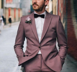 men yellow wedding suit Australia - Handsome 2 Pieces Slim Fit Mens Prom Suits Peaked Lapel Wedding Suits For Men Tuxedos Side Vent Blazers Jacket and Trousers