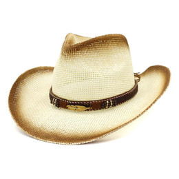 Moda Unisex Uomo Donna Marrone Spray Paint Paper Paglia Cowboy Cappelli 2019 Estate Outdoor Tesa larga Sunhat Leather Band Decor