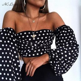 $enCountryForm.capitalKeyWord Australia - Sexy Low Cut Tops Off The Shoulder Strapless Dot Point Tank Women Bustier White Black Crop Top Backless Short Summer Q190521